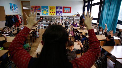 School students learning the basics. (AP Photo/Amel Emric)