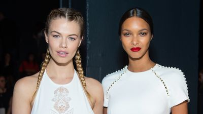 Hailey Clauson and Lais Ribeiro for Jonathon Simkhai. Beautiful braids, skin that glows and a bold red lip that says I mean business.