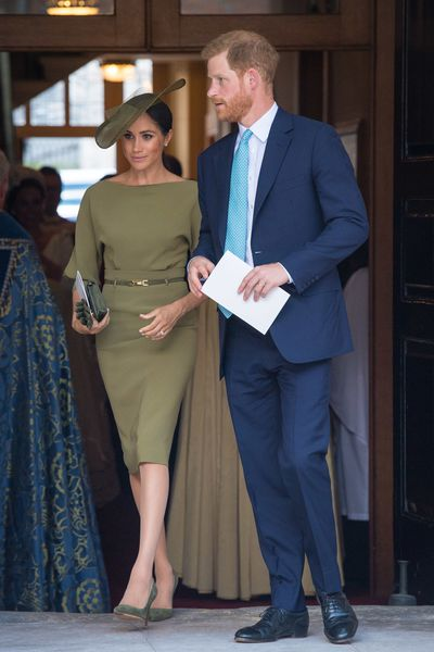 Duchess of Sussex Meghan Markle inRalph Lauren at the royal christening of Prince Louis, London, July, 2018