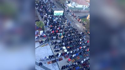 The Lakemba Mosque Facebook page posted this picture of the view of the crowds from inside earlier this morning. (Facebook: Lakemba Mosque)