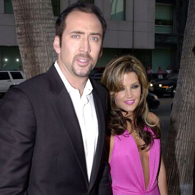 <p>Nicolas Cage and Lisa Marie Presley</p>
