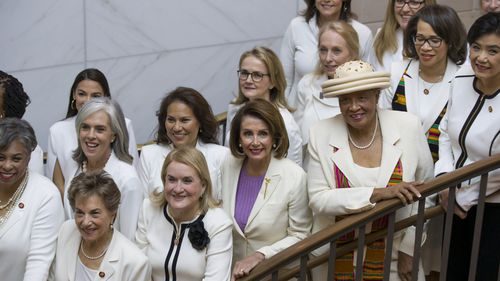 "Nancy Pelosi and other Democratic women are wearing ""Suffragette white"" to show support for women's issues."