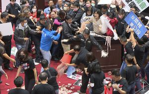 Lawmakers throw pig guts and punches on Taiwan parliament floor