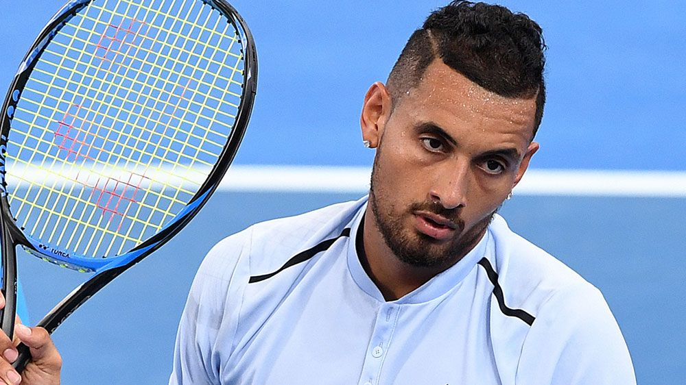 Rafael Nadal, Nick Kyrgios in action on day one of Australian Open