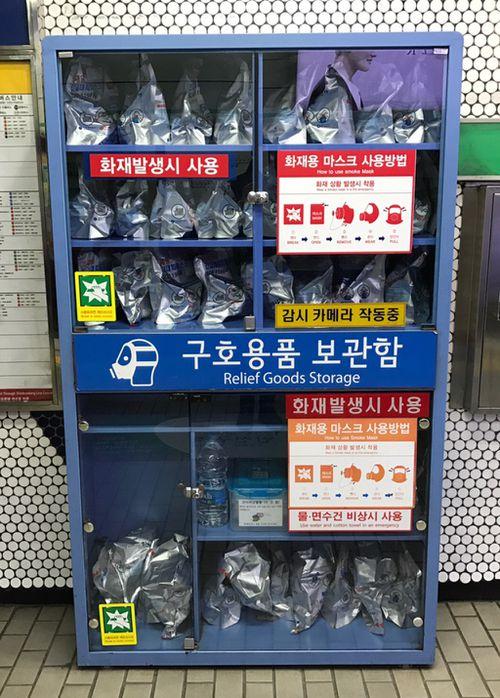 Supplies for Seoul locals fleeing an attack. (Tom Steinfort)