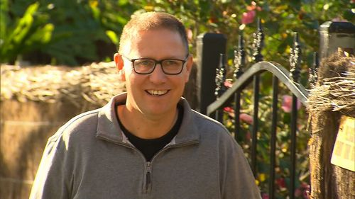 """Speaking outside his home in Adelaide, Dr Richard Harris is happy to be home after """"a pretty amazing experience"""". Picture: 9NEWS"""