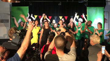 Lidia Thorpe claims victory in the Northcote by-election. (Andrew Lund)
