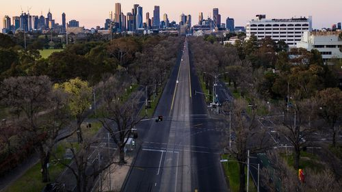 An aerial view of Royal Parade, Carlton in Melbourne.