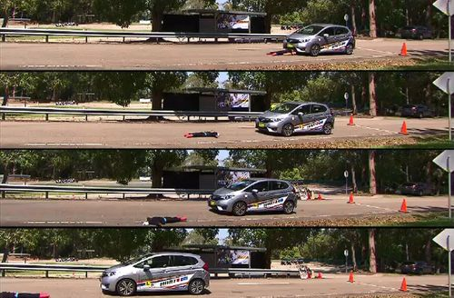 A demonstration shows how much more it takes to stop at higher speeds.