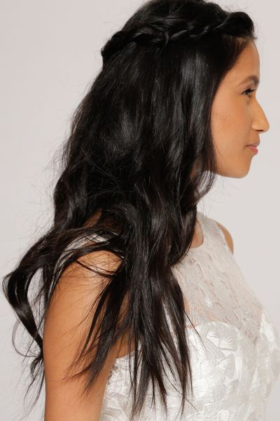 Half-up, half-down messy waves at Tony Ward for Kleinfeld.