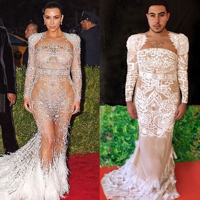 """I made@KimKardashian's #MetGala2015 dress with a beige curtain and lots of paint#YasQueen"""