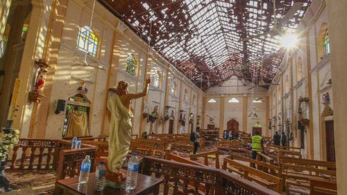 St Sebastian's Church was extensively damaged in a blast in Negombo, north of Colombo.