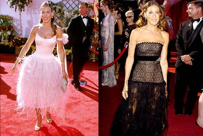 <b>Where she wore it:</b> The 52nd Annual Primetime Emmy Awards, 2000 (left); and The 56th Annual Primetime Emmy Awards, 2004 (right).<br/><br/><b>The look:</b> For a so-called fashion icon, SJP has rocked up to the Emmys in some shocking outfits. These are her two worst — we couldn't decide which one's more awful.