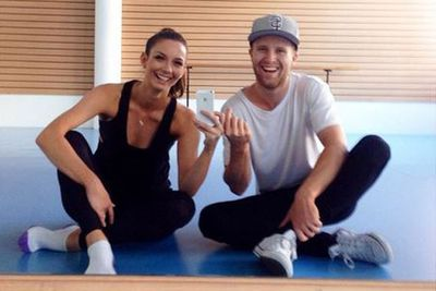 @therickilee: All smiles at rehearsals today... very happy with ourselves and the song YOU voted for us to dance to! Can't wait for you to see our next routine! #HotAndSteamy #ItsGettingHotInHere