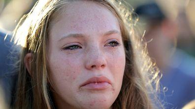 Santa Fe High School junior Madison Cantrell cries during a prayer vigil following the shooting. (AP)