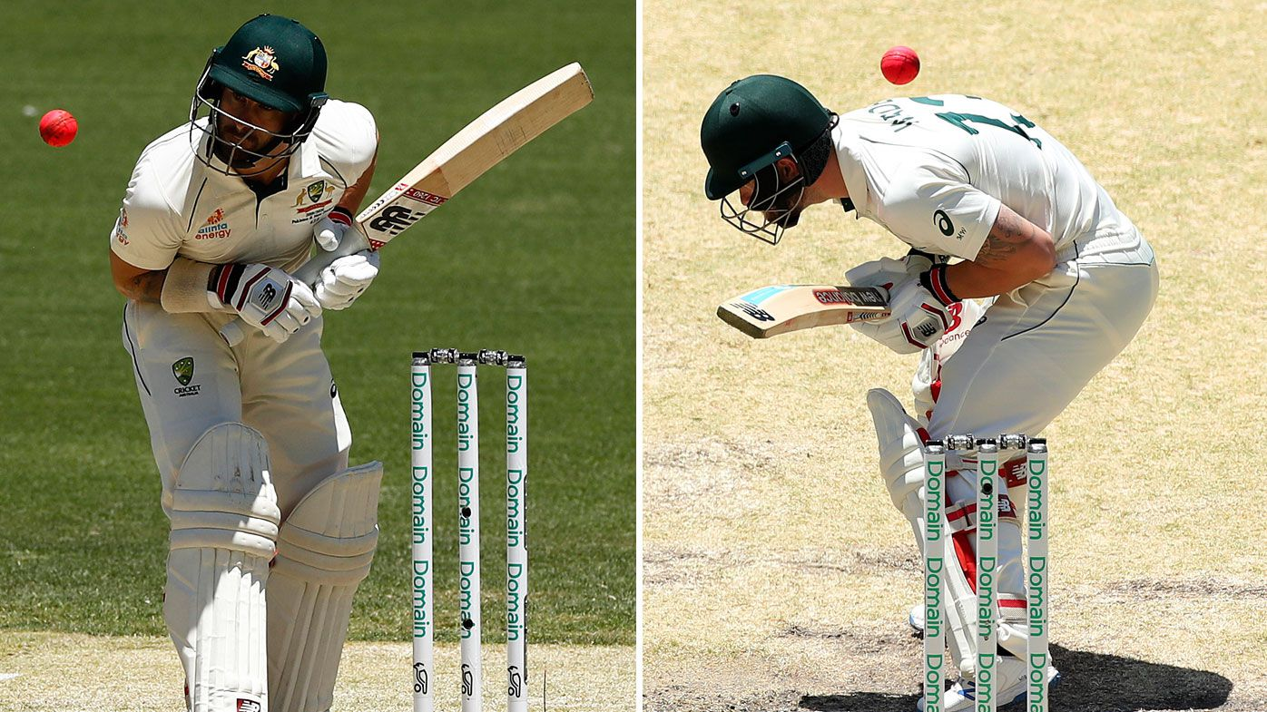 Matthew Wade of Australia is struck by a delivery from Neil Wagner