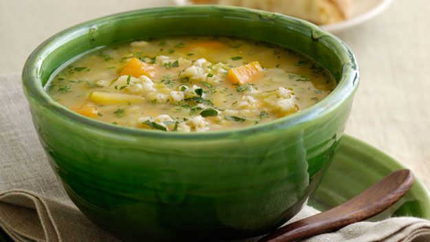 Hearty chicken and barley soup