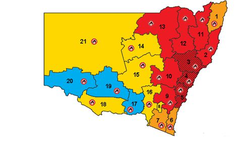The fire rating for Tuesday, November 12, was dire for much of NSW.