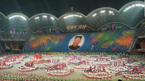 """A photograph taken by Koryo Tours from Tuesday's performance of North Korea's latest Mass Games, """"The Land of the People"""""""