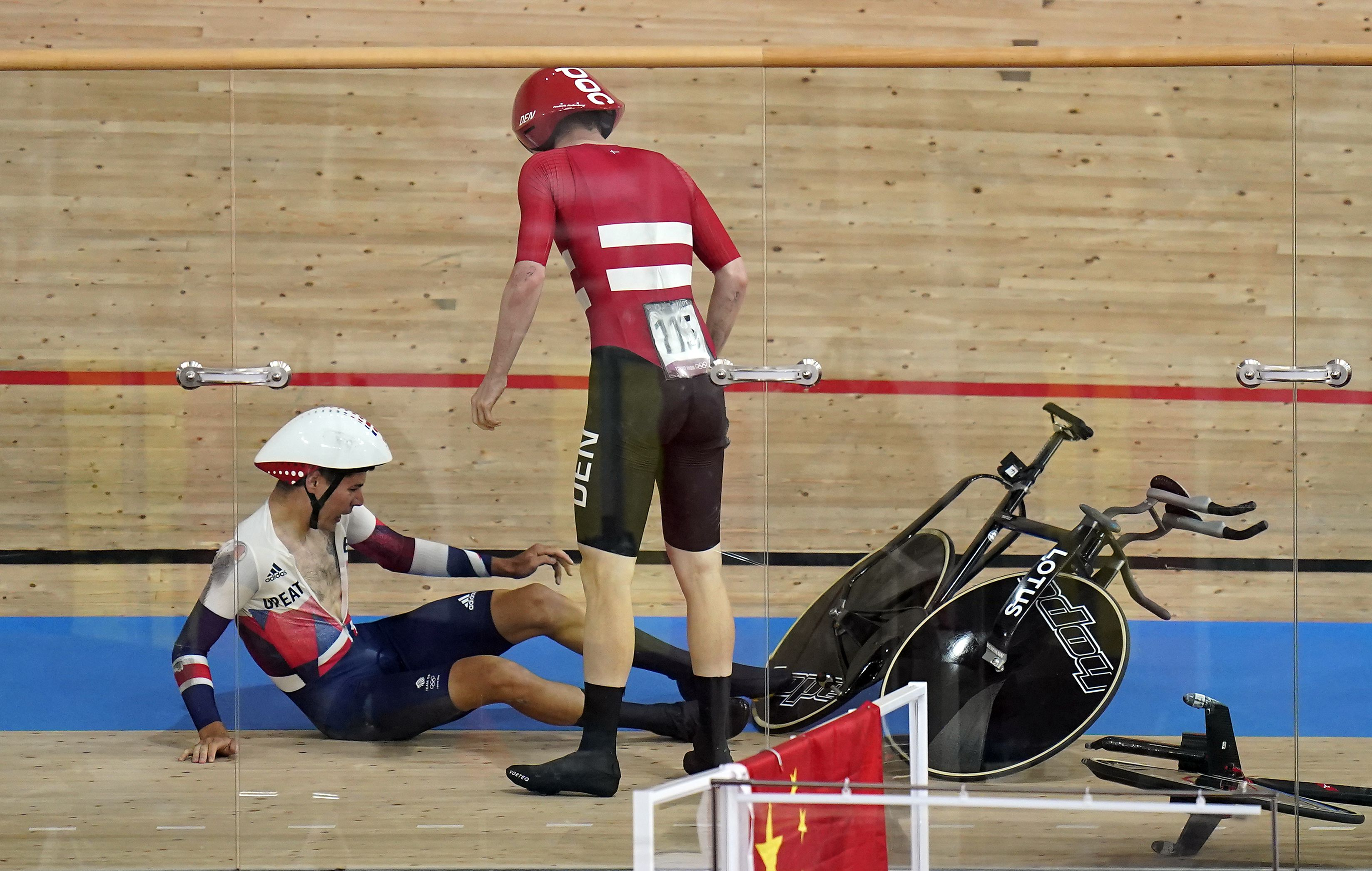 Great Britain's Charlie Tanfield and Denmark's Frederik Madsen after their crash.