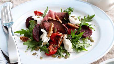 "<a href=""http://kitchen.nine.com.au/2016/05/05/16/28/beetroot-beef-and-mozzarella-salad"" target=""_top"">Beetroot, beef and mozzarella salad<br> </a>"