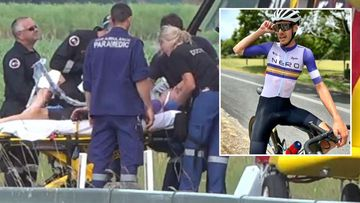 Cyclist Ben Carman is in an induced coma after an horrific smash during a road race on the NSW north coast.