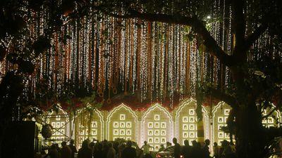 Fairy lights outside the estate
