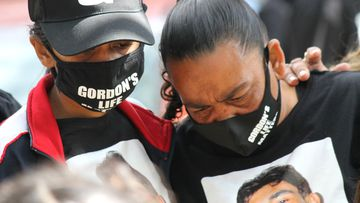Gordon Copeland's sister Bianca (left) and mother, Narelle, at a rally to express unhappiness over police efforts to find the missing 22-year-old.