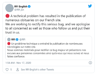 The Twitter apology attempted to explain the error.