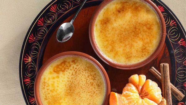 Orange and cinnamon creme brulee