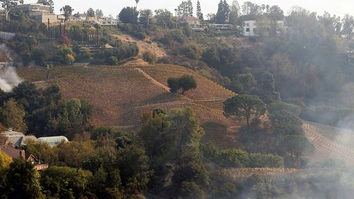 A wildfire burns a portion of media mogul Rupert Murdoch's 16-acre 6.5-hectare Moraga Vineyards estate, in California. (Photo: AP).