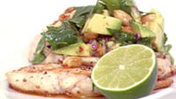 Coriander, peanut and avocado salsa with chicken