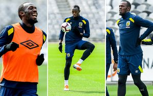 Usain Bolt struggling with A-League pace during Central Coast Mariners trial