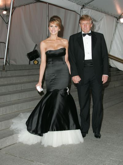 "<p>""This is one of my favorite dresses,"" Melania told Elle. ""I wore it to the Met Gala in 2005, and when I was walking up the steps, you could really see the beautiful layers. I added a diamond brooch right above the tulle, so it was really stunning.""</p> <p>Melania Trump in Alexander McQueen at the 2005 Met Gala, <em>The house of Chanel</em>.</p>"