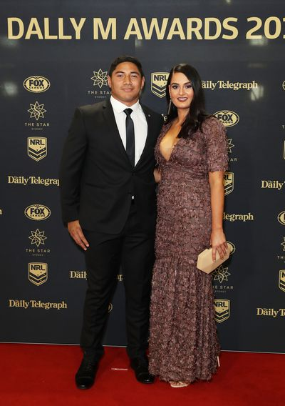 Jason Taumalolo of the Cowboys with partner Liana Lariva
