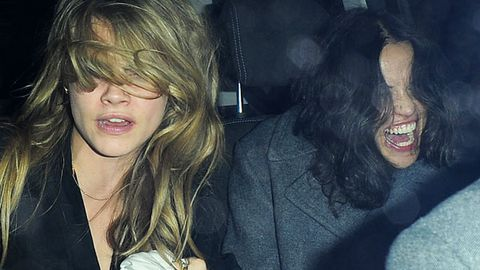 Backseat romp! Cara Delevingne leaves cab with girlfriend Michelle Rodriguez's pants...