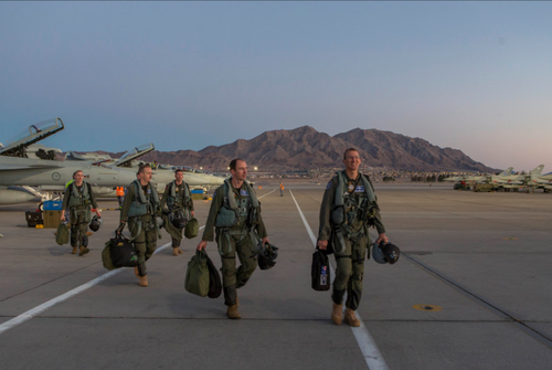 The Australian Air Force's Number 6 Squadron in Nevada for the training exercise. (Supplied)