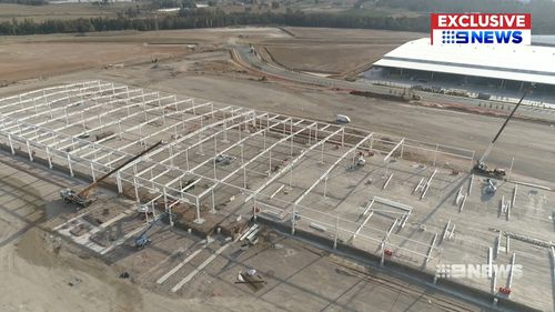 Costco is putting up the exterior frame of its giant Kemps Creek distribution centre.