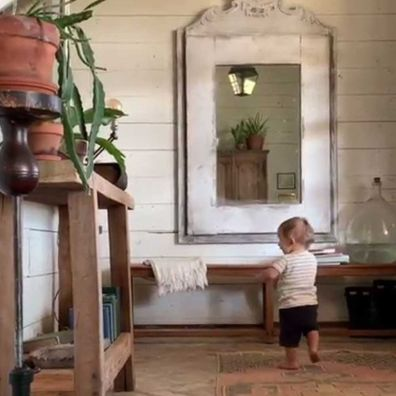 Joanna Gaines posted video of Crew walking in hallway.