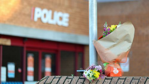 Flowers are left outside the Henderson Police station on June 19, 2020 in Auckland, New Zealand