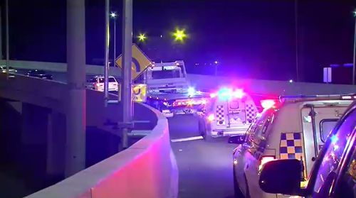 Police were forced to close the road after the crash. Picture: 9NEWS