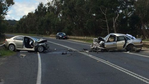 A female driver was killed when two sedans collided on the South Gippsland Highway. (9NEWS)