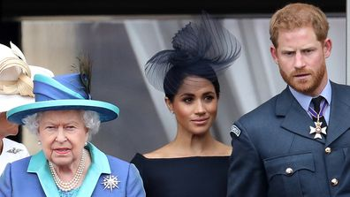 The Duke and Duchess of Sussex with Queen Elizabeth in 2018.