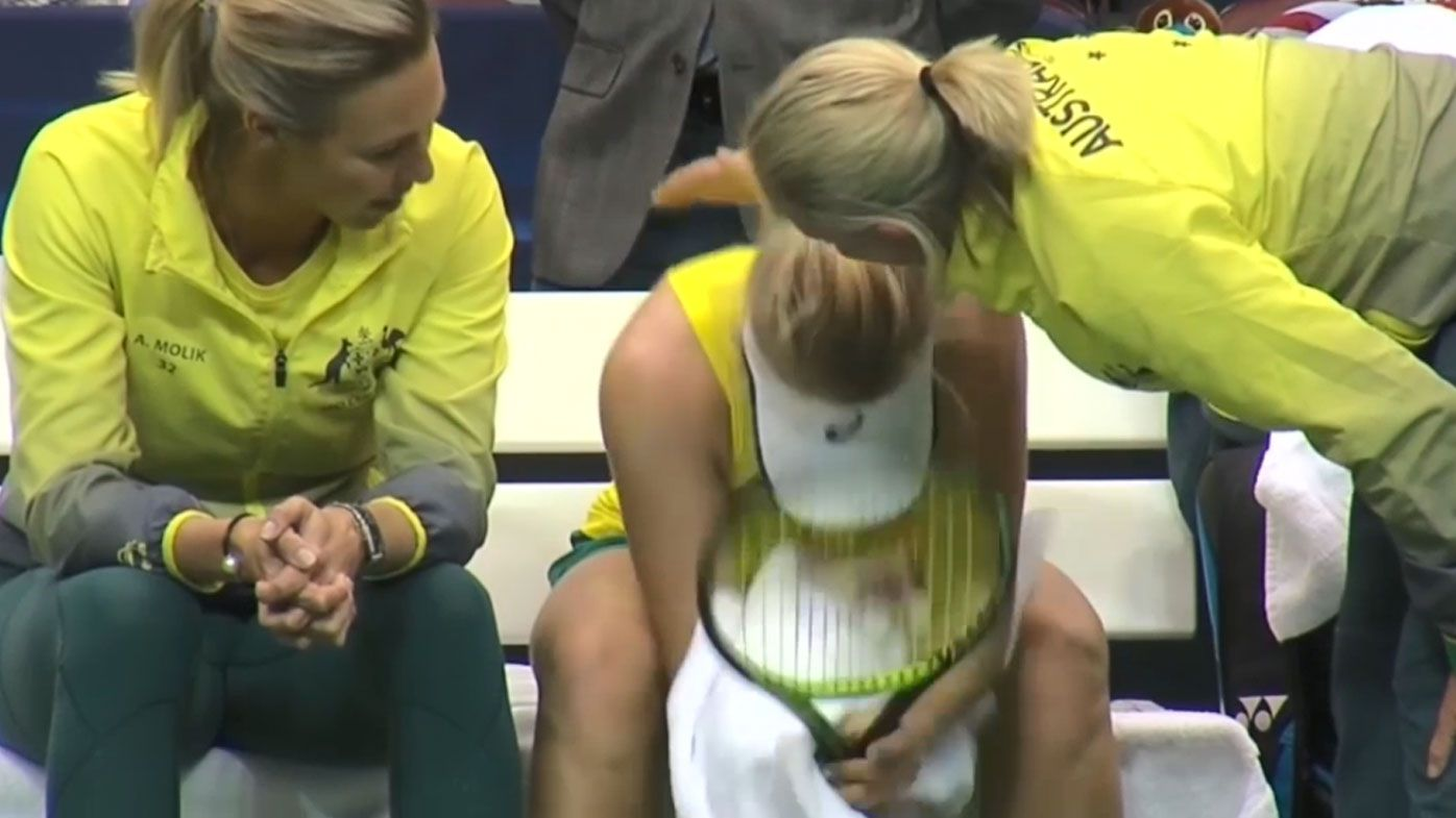 Gavrilova smashes her racquet at Fed Cup