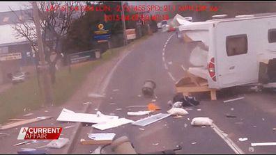 Caravan crashes