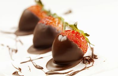 Strawberries covered in dark chocolate