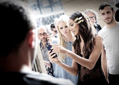 <p>Joan Smalls and Lara Stone take the opportunity for a selfie.</p>
