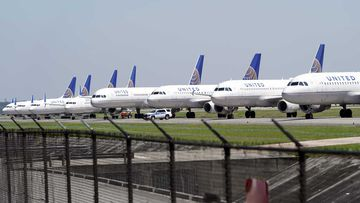 United Airlines planes are parked at George Bush Intercontinental Airport.