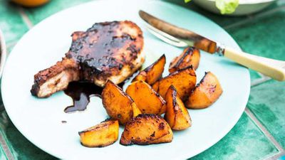 "Poh's <a href=""http://kitchen.nine.com.au/2016/05/20/10/52/pohs-spiced-pork-cutlets-with-charred-persimmons"" target=""_top"">spiced pork cutlets with charred persimmons</a> recipe"