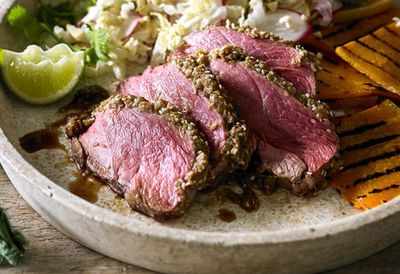 """Recipe:<a href=""""http://kitchen.nine.com.au/2016/05/20/10/23/lemon-pepper-crusted-sirloin-steak-with-watermelon-white-bean-and-onion-salad"""" target=""""_top"""" draggable=""""false"""">Lemon pepper crusted sirloin steak with watermelon, white bean and onion salad<br> </a>"""